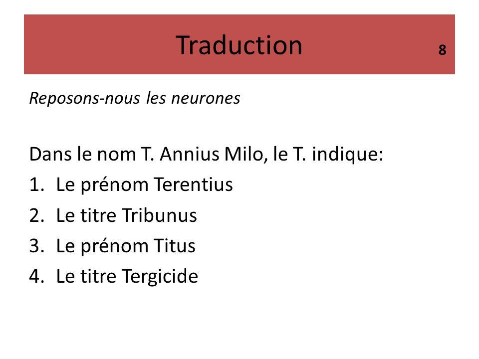 Traduction Dans le nom T. Annius Milo, le T. indique: