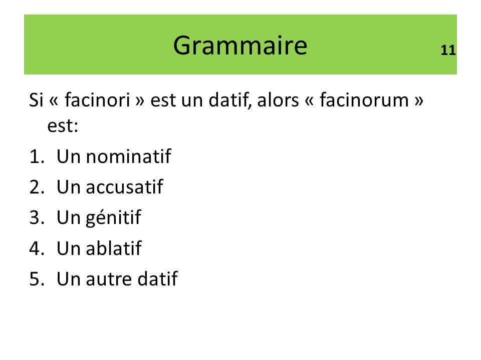 Grammaire Si « facinori » est un datif, alors « facinorum » est: