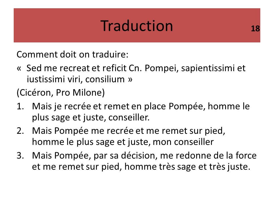 Traduction Comment doit on traduire: