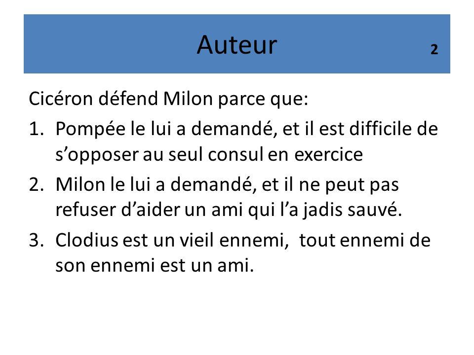 Auteur Cicéron défend Milon parce que: