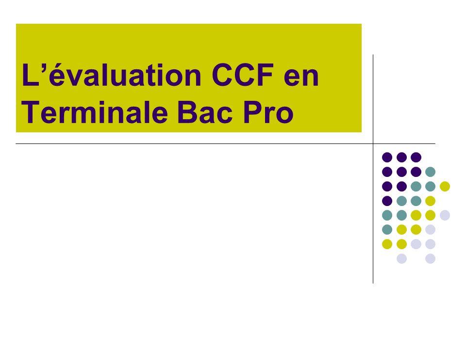 L'évaluation CCF en Terminale Bac Pro