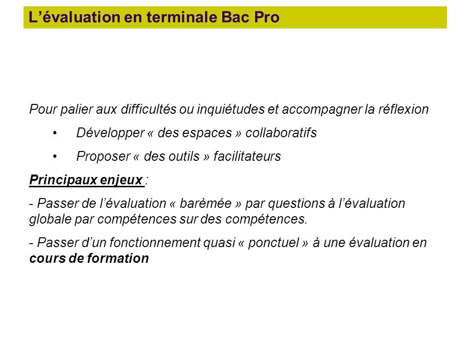 L'évaluation en terminale Bac Pro