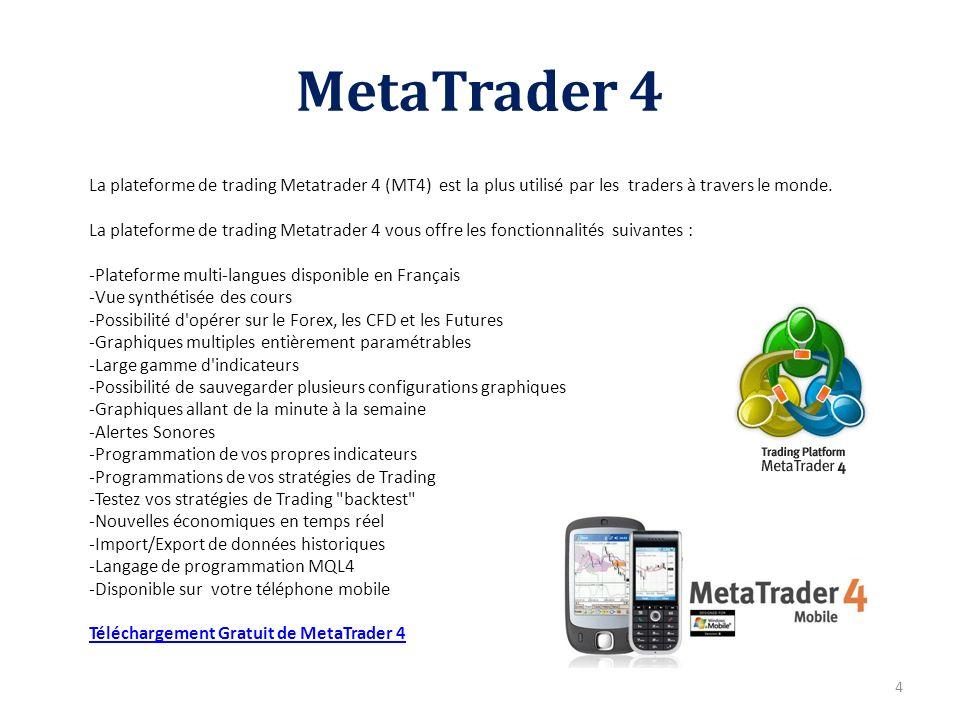 MetaTrader 4 La plateforme de trading Metatrader 4 (MT4) est la plus utilisé par les traders à travers le monde.