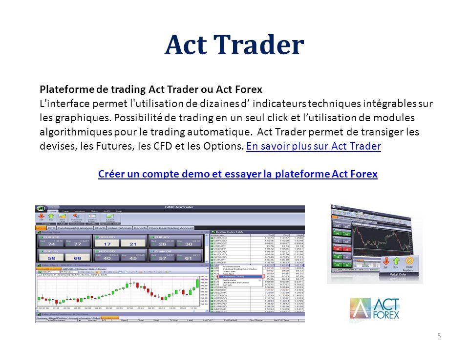 Créer un compte demo et essayer la plateforme Act Forex