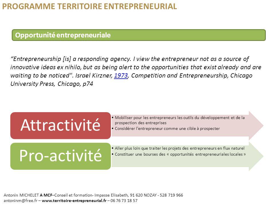 Attractivité Pro-activité PROGRAMME TERRITOIRE ENTREPRENEURIAL