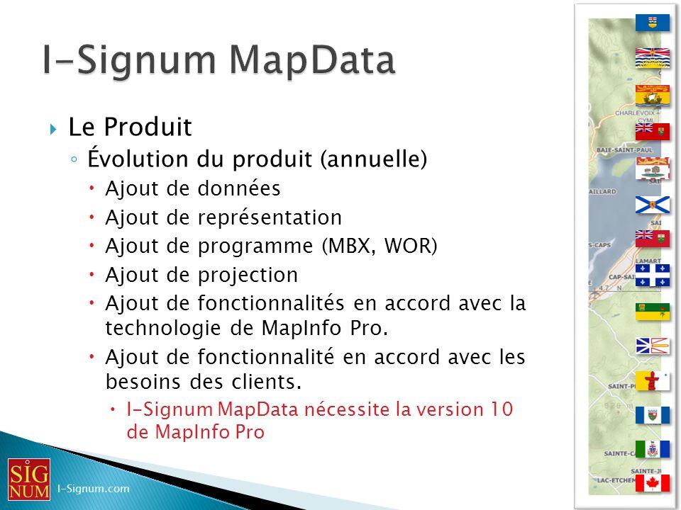 I-Signum MapData Le Produit Évolution du produit (annuelle)