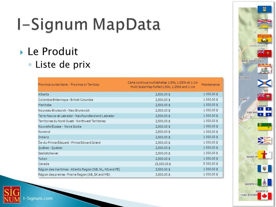 I-Signum MapData Le Produit Liste de prix I-Signum.com