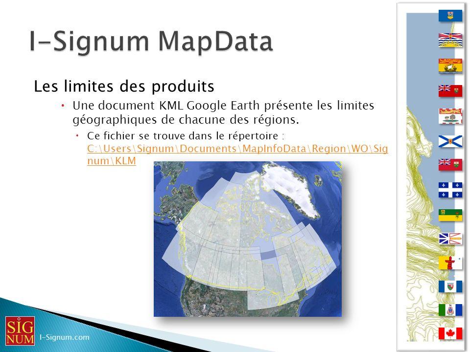 I-Signum MapData Les limites des produits