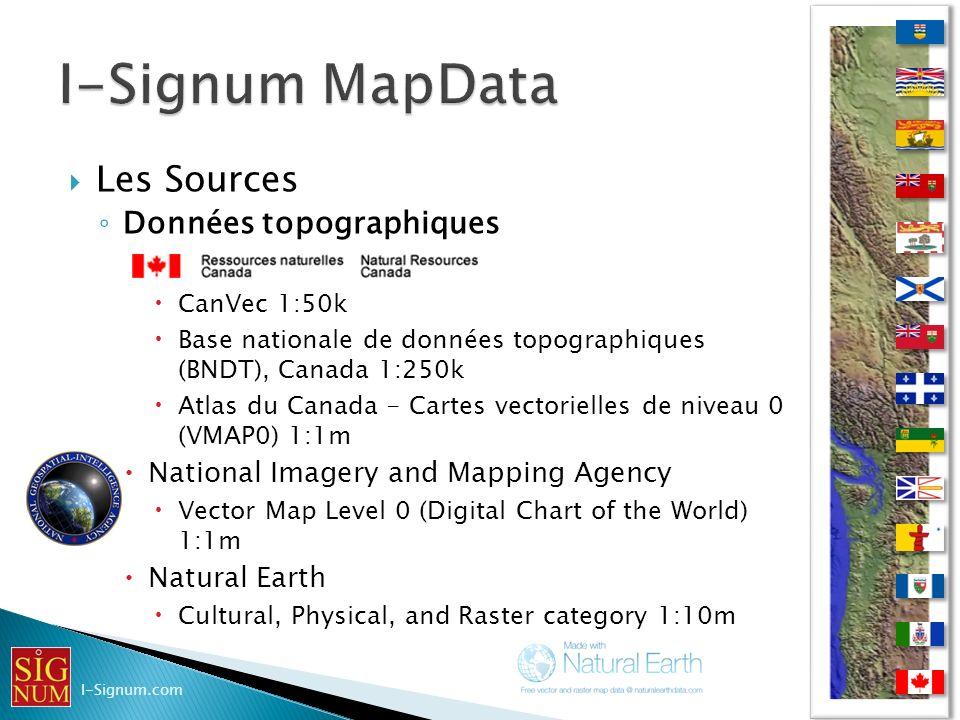I-Signum MapData Les Sources Données topographiques
