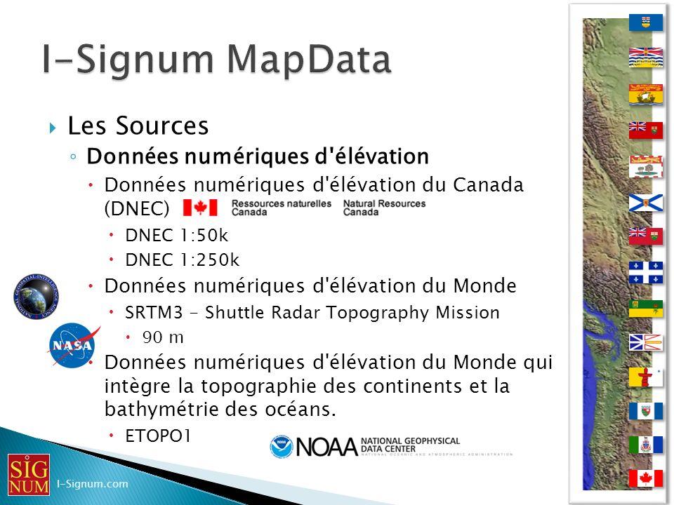 I-Signum MapData Les Sources Données numériques d élévation