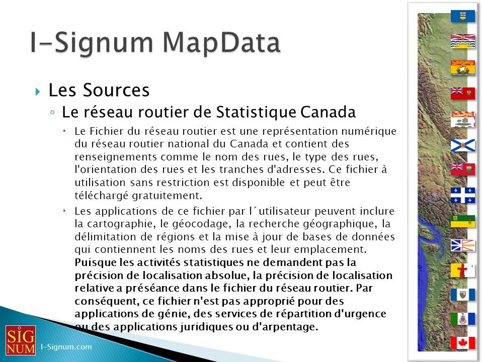 I-Signum MapData Les Sources Le réseau routier de Statistique Canada