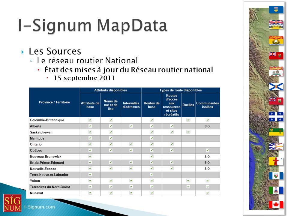 I-Signum MapData Les Sources Le réseau routier National