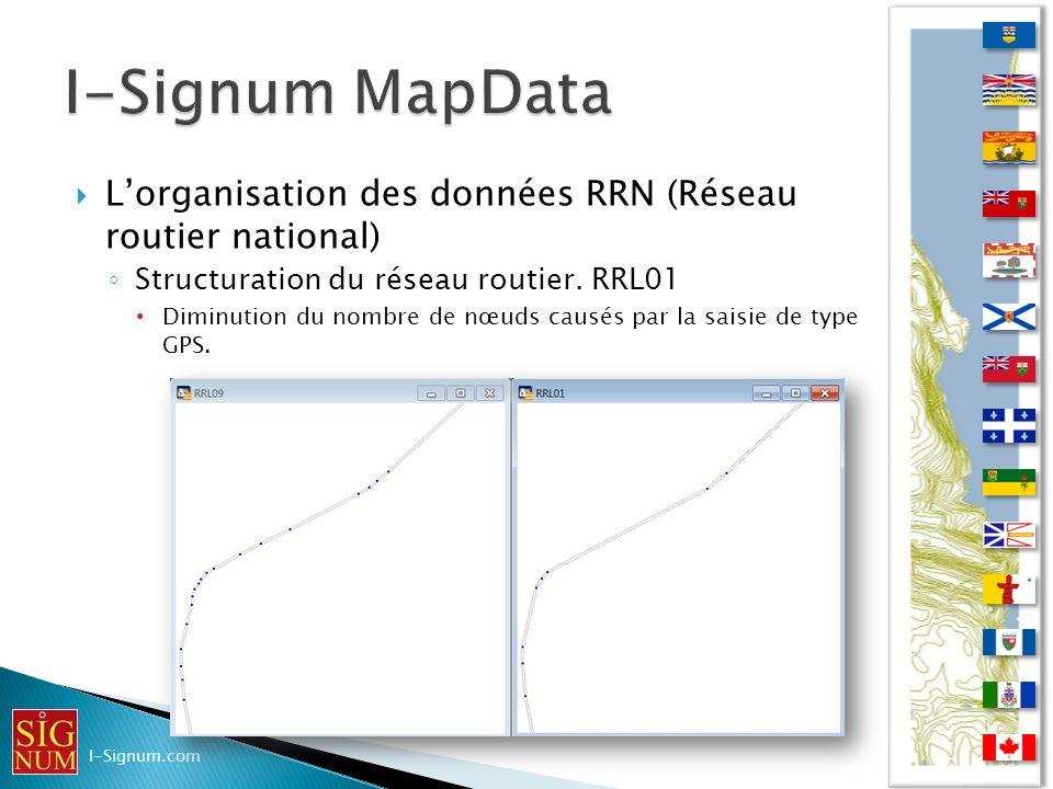 I-Signum MapData L'organisation des données RRN (Réseau routier national) Structuration du réseau routier. RRL01.