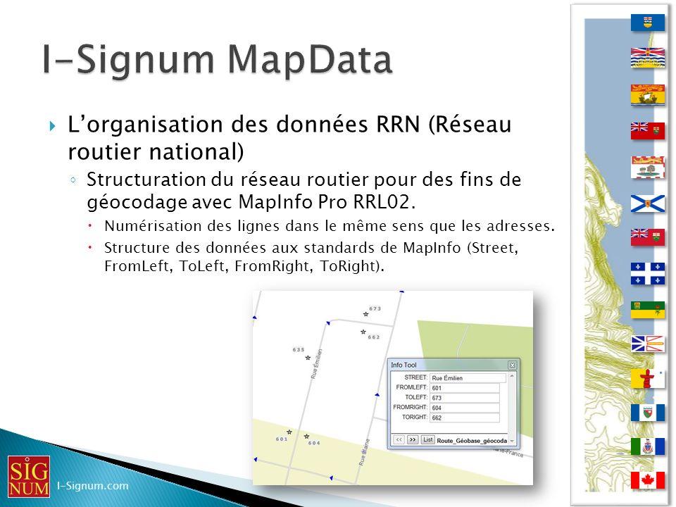 I-Signum MapData L'organisation des données RRN (Réseau routier national)