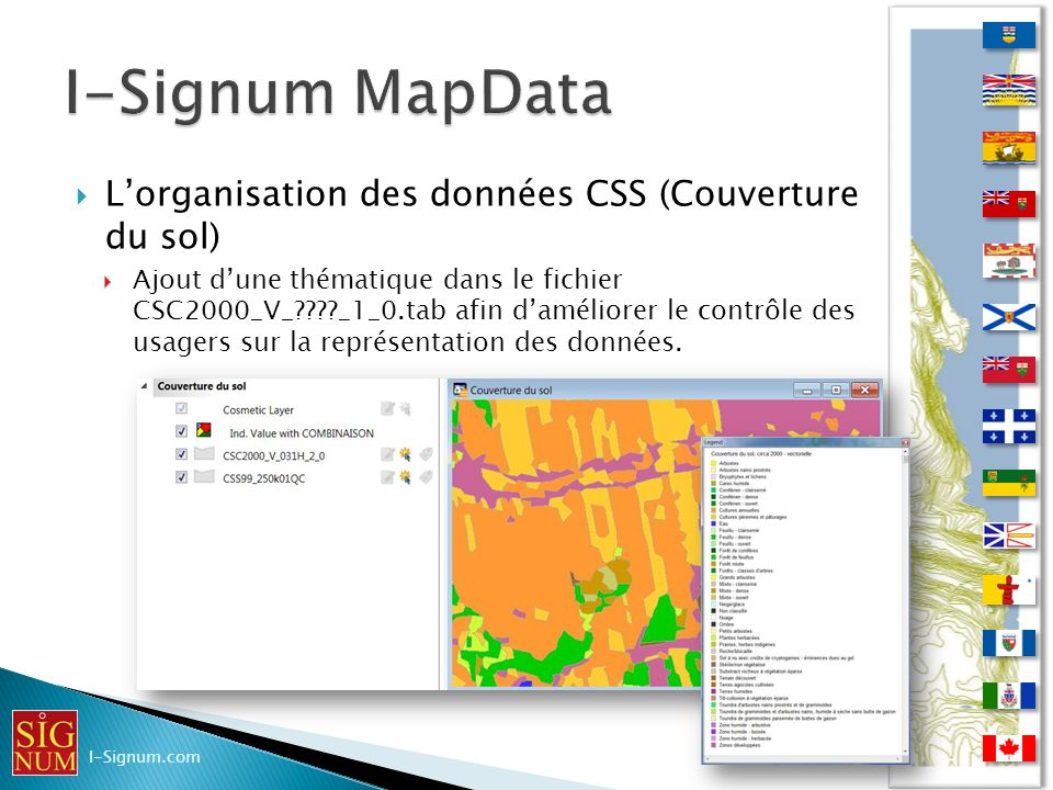I-Signum MapData L'organisation des données CSS (Couverture du sol)