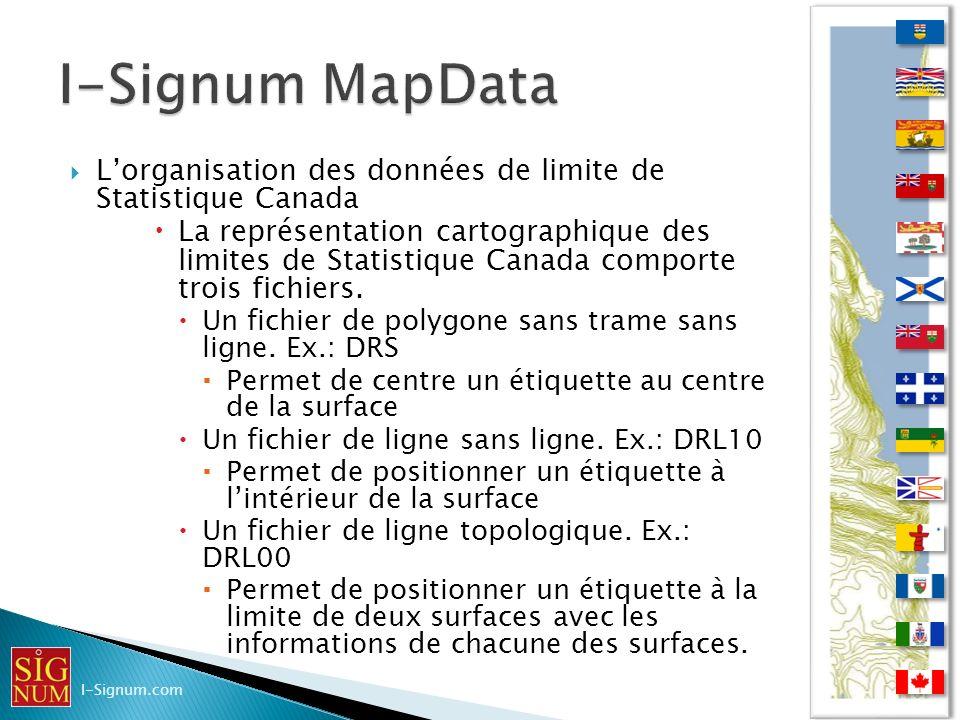 I-Signum MapData L'organisation des données de limite de Statistique Canada.