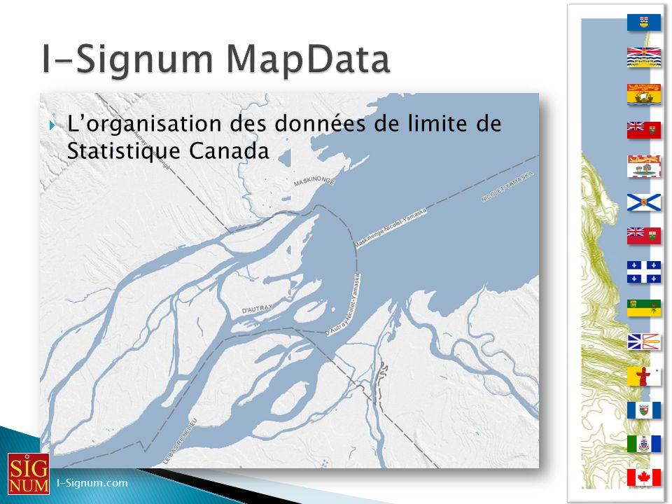 I-Signum MapData L'organisation des données de limite de Statistique Canada I-Signum.com