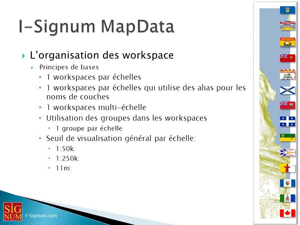 I-Signum MapData L'organisation des workspace
