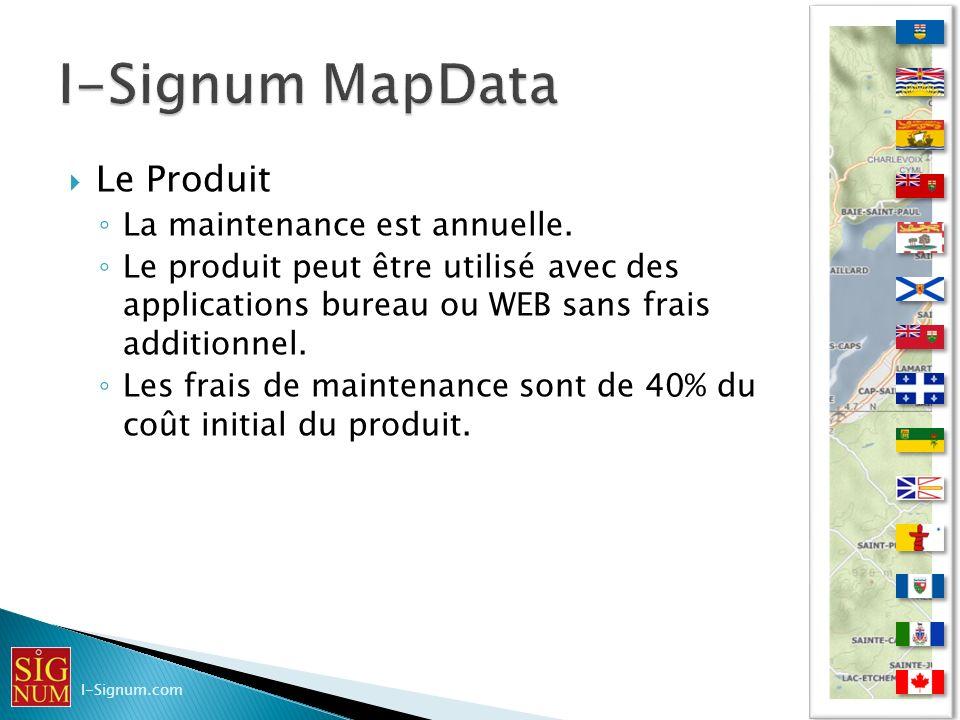 I-Signum MapData Le Produit La maintenance est annuelle.
