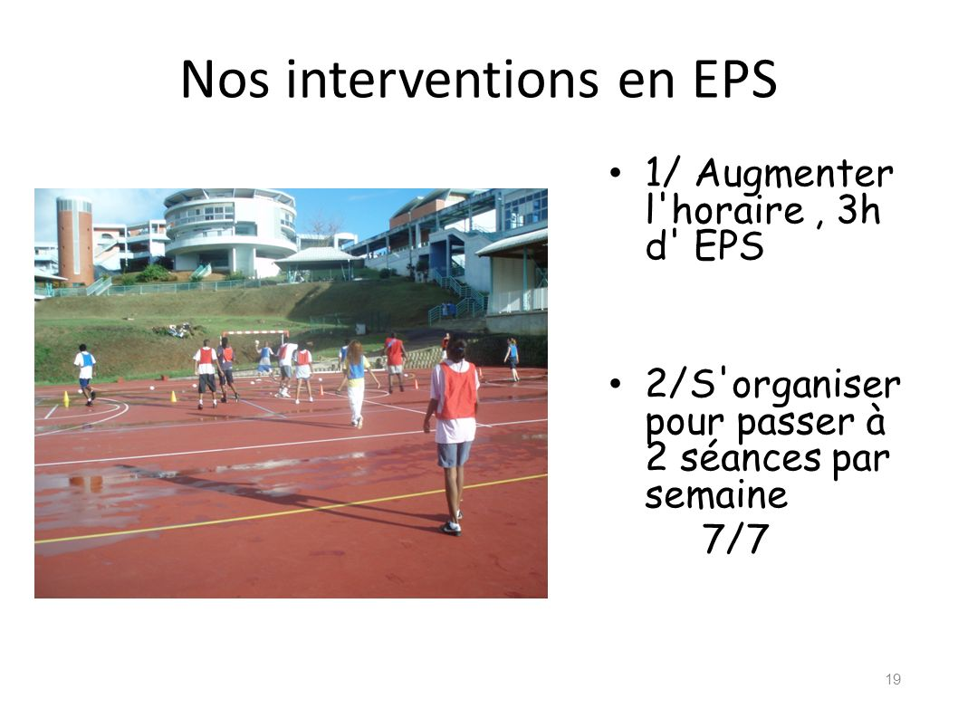 Nos interventions en EPS