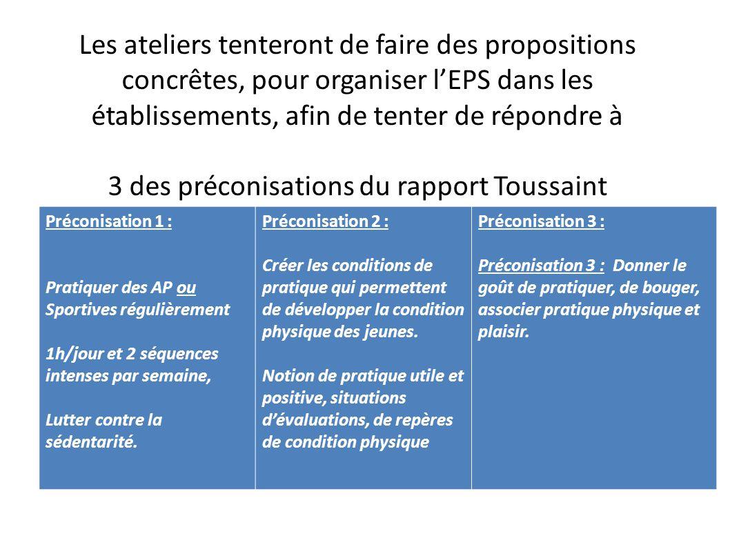 Les ateliers tenteront de faire des propositions concrêtes, pour organiser l'EPS dans les établissements, afin de tenter de répondre à 3 des préconisations du rapport Toussaint