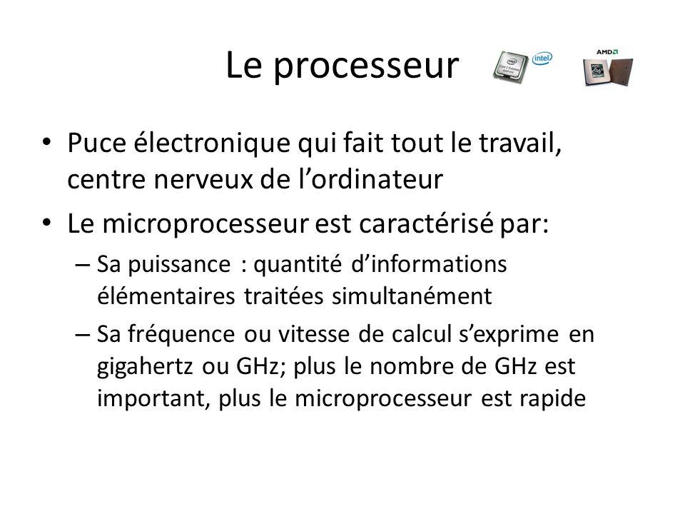 Le processeur Puce électronique qui fait tout le travail, centre nerveux de l'ordinateur. Le microprocesseur est caractérisé par: