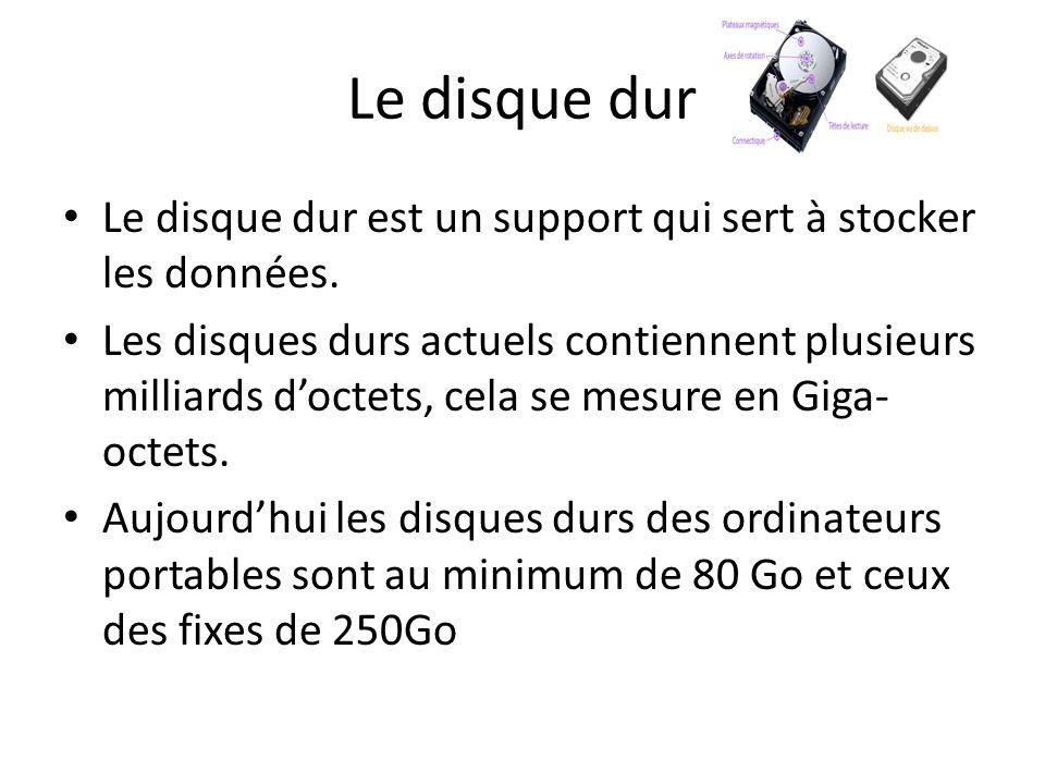 Le disque dur Le disque dur est un support qui sert à stocker les données.
