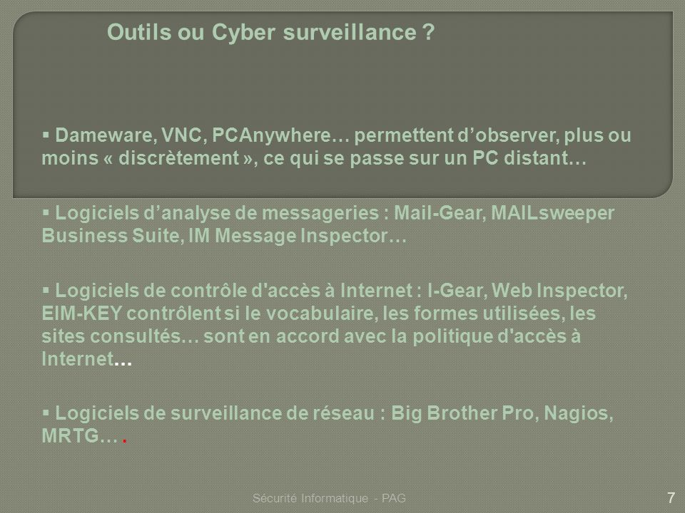 Outils ou Cyber surveillance