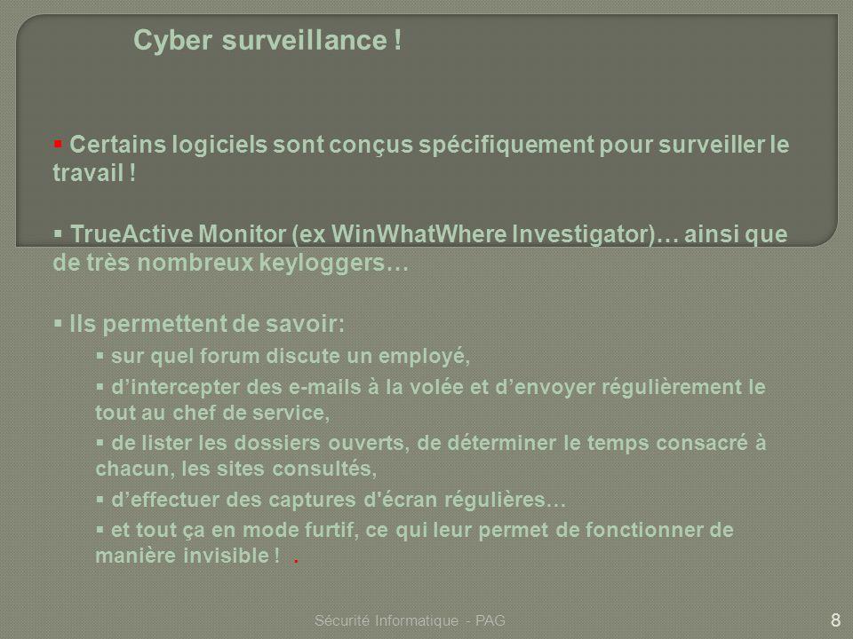 Cyber surveillance ! Certains logiciels sont conçus spécifiquement pour surveiller le travail !