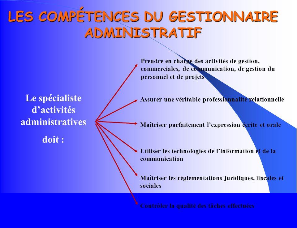 LES COMPÉTENCES DU GESTIONNAIRE ADMINISTRATIF