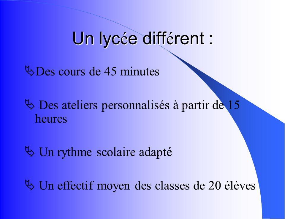 Un lycée différent : Des cours de 45 minutes