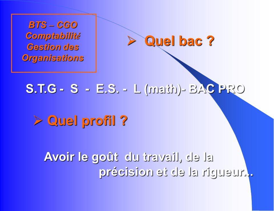 BTS – CGO Comptabilité Gestion des Organisations