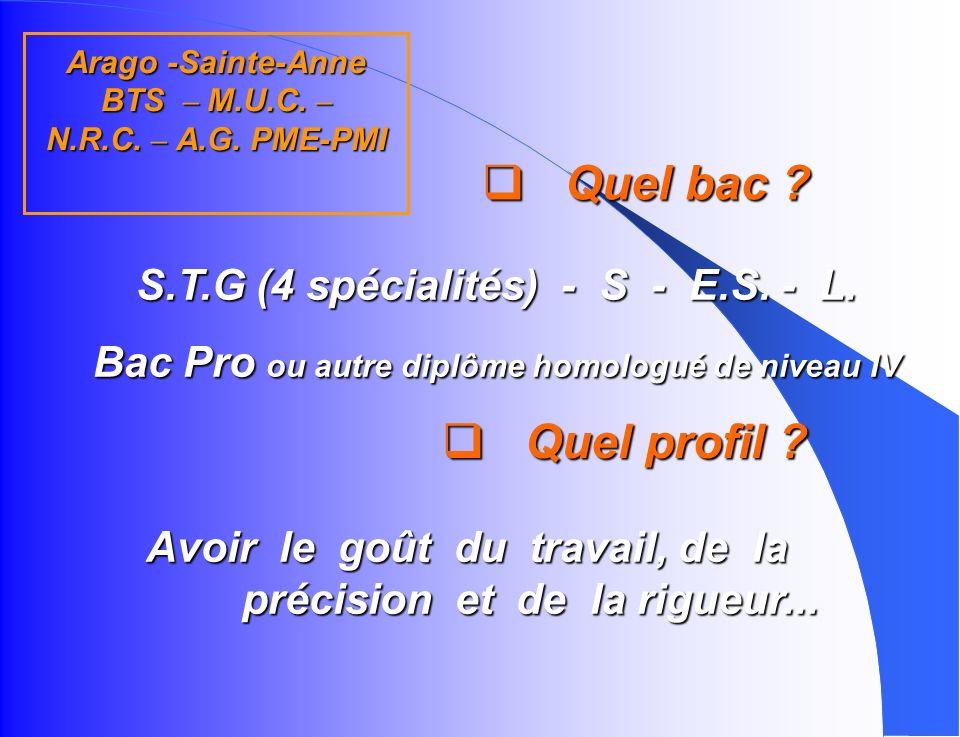 Arago -Sainte-Anne BTS – M.U.C. – N.R.C. – A.G. PME-PMI