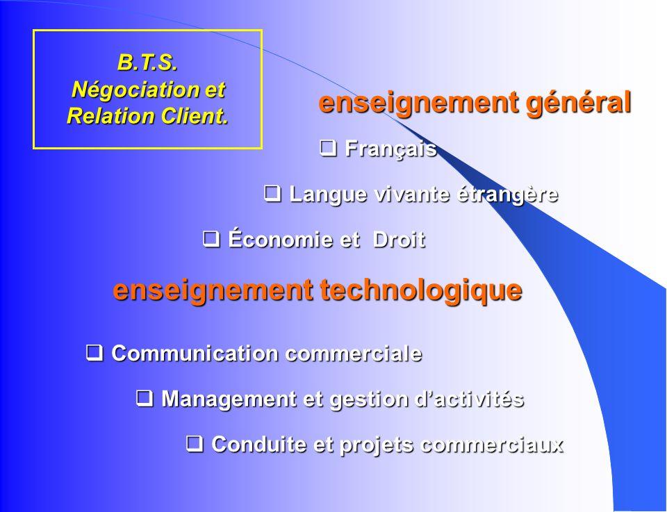 B.T.S. Négociation et Relation Client.