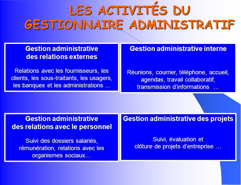 LES ACTIVITÉS DU GESTIONNAIRE ADMINISTRATIF