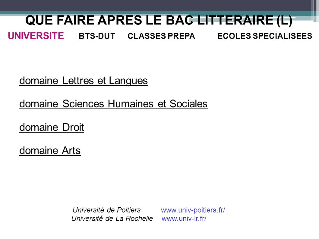 QUE FAIRE APRES LE BAC LITTERAIRE (L) UNIVERSITE BTS-DUT CLASSES PREPA ECOLES SPECIALISEES