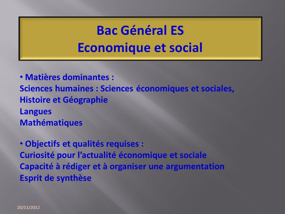 Bac Général ES Economique et social