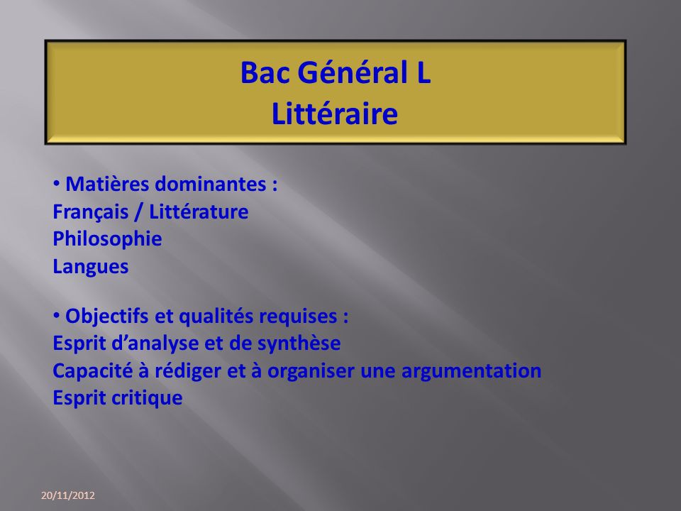 Bac Général L Littéraire