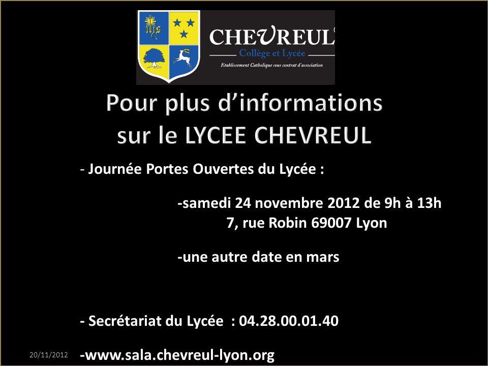 Pour plus d'informations sur le LYCEE CHEVREUL