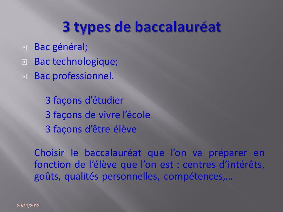 3 types de baccalauréat Bac général; Bac technologique;
