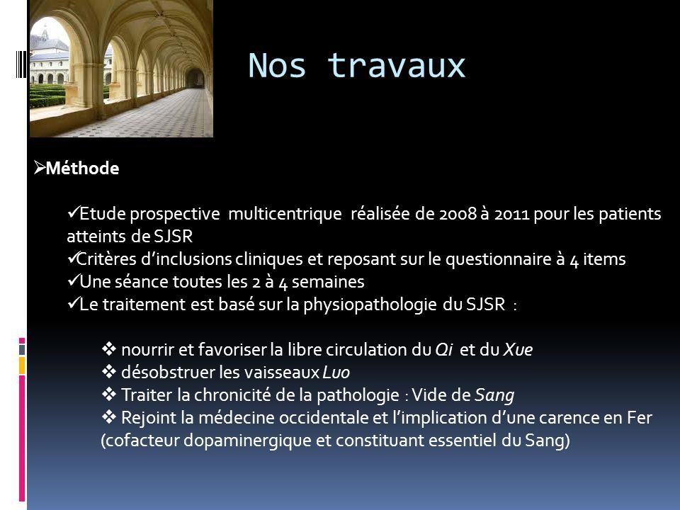 Nos travaux Méthode. Etude prospective multicentrique réalisée de 2008 à 2011 pour les patients atteints de SJSR.