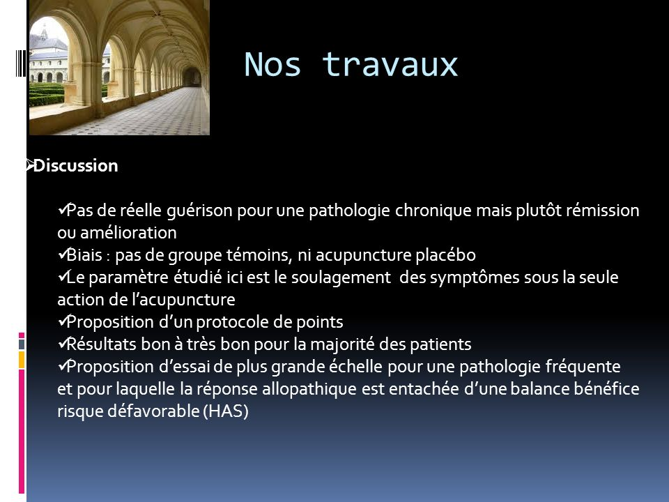 Nos travaux Discussion