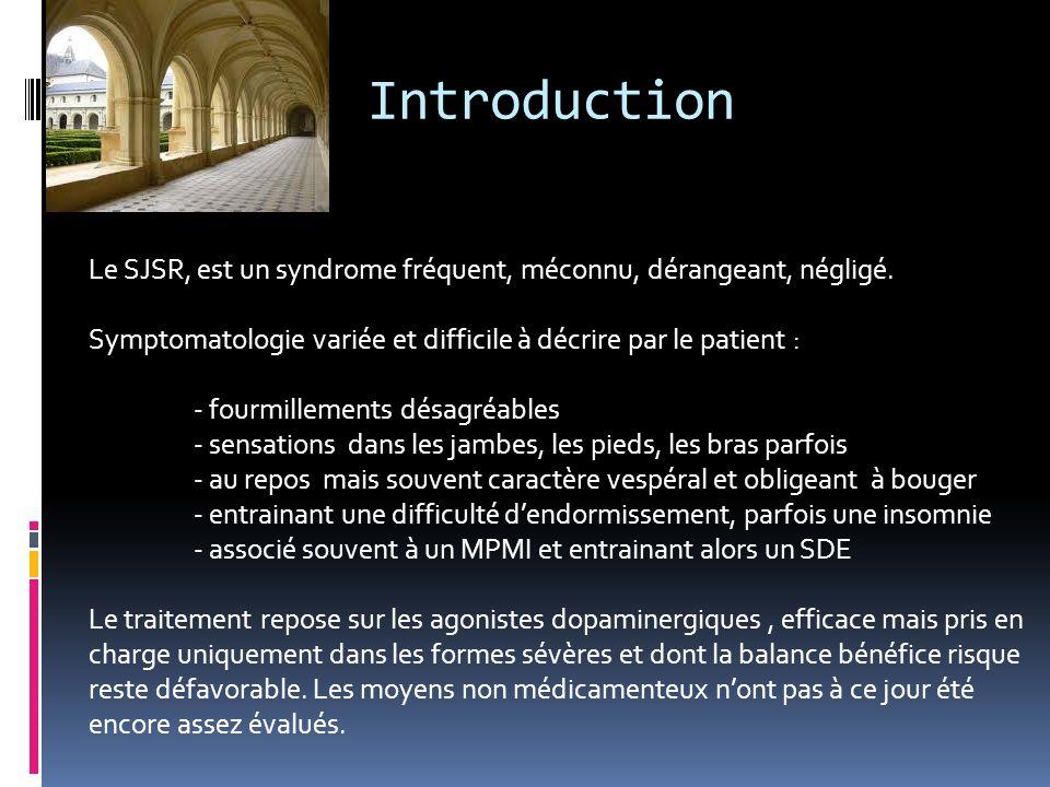 Introduction Le SJSR, est un syndrome fréquent, méconnu, dérangeant, négligé. Symptomatologie variée et difficile à décrire par le patient :