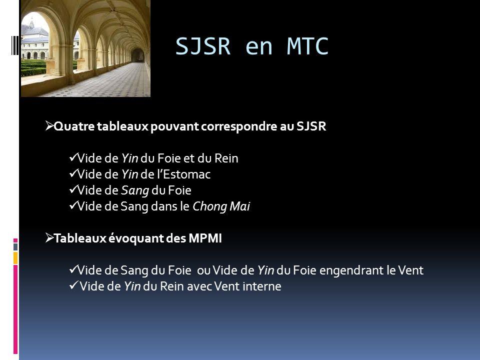 SJSR en MTC Quatre tableaux pouvant correspondre au SJSR