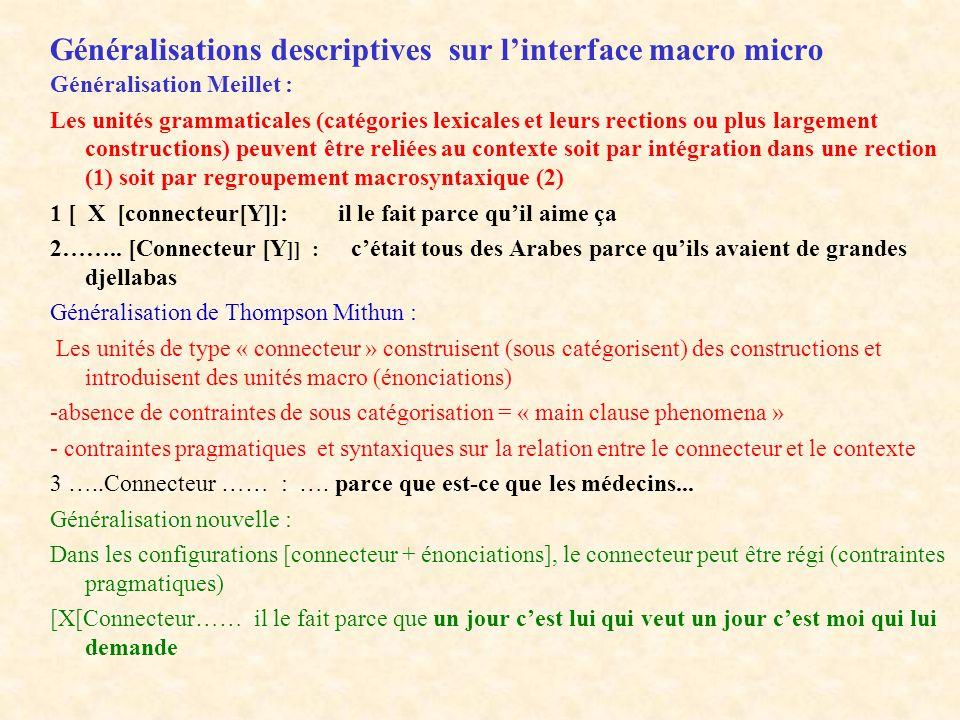 Généralisations descriptives sur l'interface macro micro