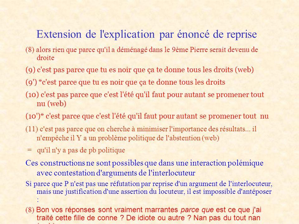 Extension de l explication par énoncé de reprise
