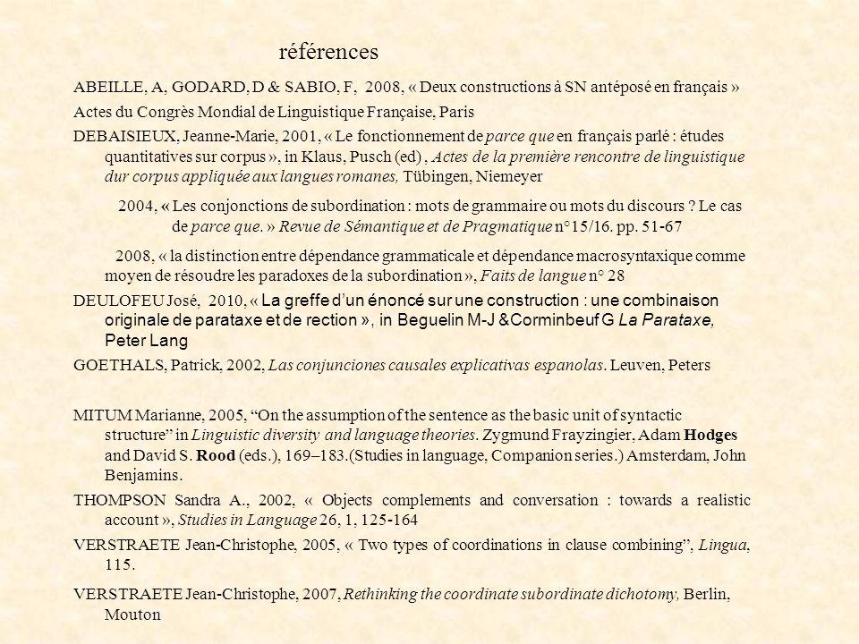 références ABEILLE, A, GODARD, D & SABIO, F, 2008, « Deux constructions à SN antéposé en français »