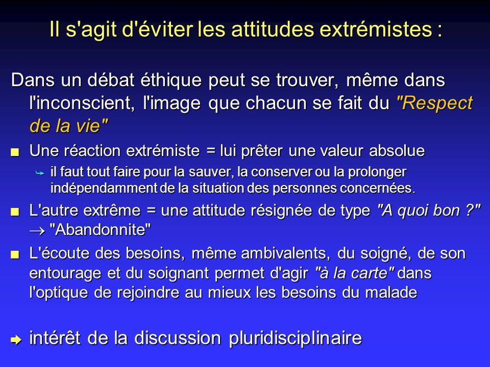Il s agit d éviter les attitudes extrémistes :