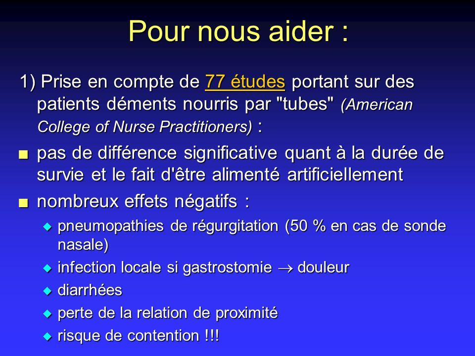 Pour nous aider :1) Prise en compte de 77 études portant sur des patients déments nourris par tubes (American College of Nurse Practitioners) :