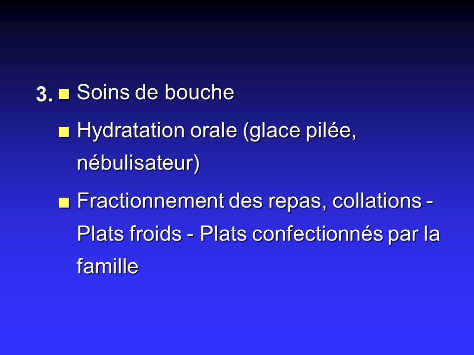 Soins de bouche Hydratation orale (glace pilée, nébulisateur)